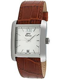 gino franco Men's 941BR Square Stainless Steel Genuine Leather Strap Watch