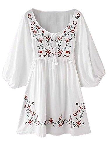 FUTURINO Damen Sommerkleid Bohemian Stickerei Floral Tunika Shirt Bluse Flowy Minikleid, 03 Weiße, M