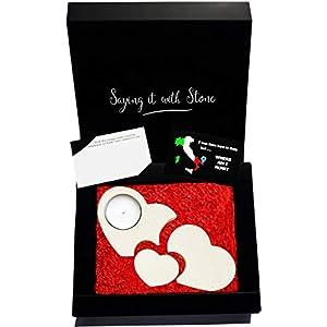 3 Herzen werden 1 Teelicht Kerzenhalter aus Stein – Box, Teelicht Kerze und Nachrichtenkarte enthalten – Handmade in Italy – Geschenk Mama Papa Sohn Tochter Eltern Neugeborene