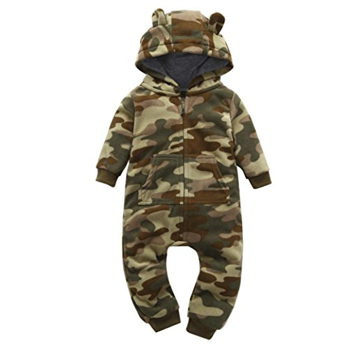 SHOBDW Girls Rompers, Infant Baby Boys Girls Autumn Winter Thicker Print Hooded Romper Jumpsuit Outfit Kid Clothes (0-6 Months, Camouflage-B)