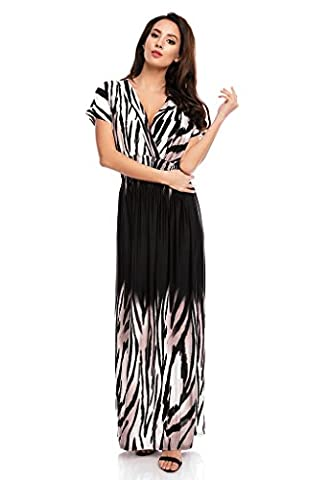 Ladies Floral Animal Print Summer Beach Casual Holiday Maxi Day Dress Zebra UK 16/18