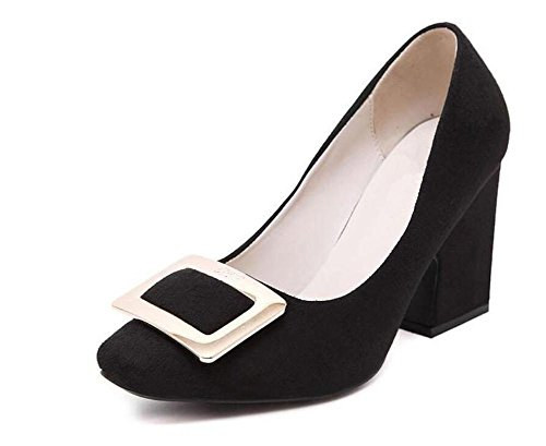 LDMB Women's Casual Wildleder flachen Mund mit einzelnen Schuhen dick mit Mid-Ferse-Schuhe Black