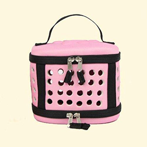 ORPERSIST Haustier-Paket-Tragbares Breathable Loch EVA-Minipet-Paket Zusammenklappbarer Hamster-Meerschweinchen-Reise-Taschen-Rosa/Grau,Pink (Meerschweinchen Beißen)