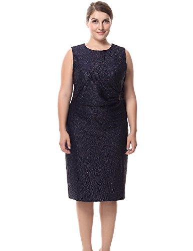 Stretch Denim Tank Dress (Chicwe Damen Kleid Große Größen Ärmelloses funkelndes mit einer Mock Krawatte an der Taille 44, Blau)