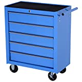 HOMCOM Carro Caja de Herramientas Taller movil con 5 cajones 4 Ruedas Chapa de Acero Azul