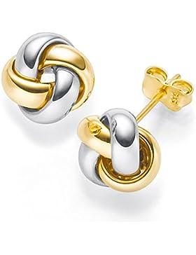 Paar Ohrstecker 8mm Knoten 585 Gold gelb/weiß/rot Ohrschmuck tricolor Damen