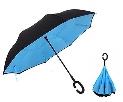 Depthlan Parapluie Inversé innovant, Parapluie Canne Double Couche Coupe-Vent, Mains