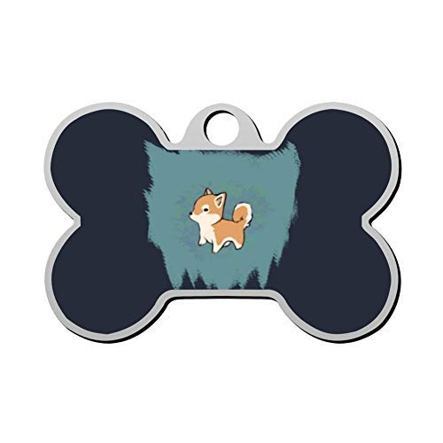 EstherMi19 Little Shiba Inu Pet Id Tags Personalised Stainless Steel Double Sided for Dogs Cats Funny Idea