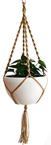 24Cordes 100% Jute macramé Plante Cintre 4pieds 129,5cm pour intérieur ou extérieur terrasse du pont au plafond ronds et carrés Pots, un design unique, noués à la main rétro Sentiment et une Finesse Inégalée pour pot de fleurs 30,5cm (Jute)