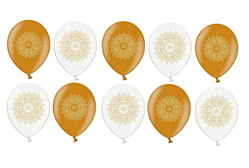 Feste Feiern zur Kommunion I 10x Latex Luftballon Kommunion mixed gold weiss metallic IHS Symbol 30cm (heliumfähig)