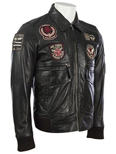 Hommes très élégante 100% Veste de bombardière en cuir Super-Soft authentique avec badges de aviation par MDK Noir