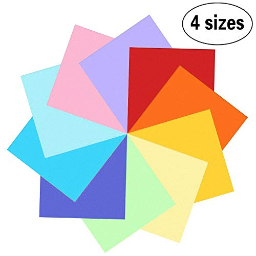 400 Blatt doppelseitiges Origami Papier in 10 lebhaften Farben, 4 Größen Spezifikation(100 Blatt 20x20 cm 100 Blatt 15x15 cm 100 Blatt 10x10 cm 100 Blatt 7,5x7,5 cm) -