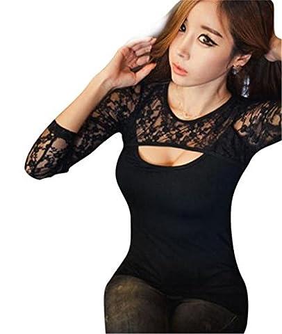 Chemise Femme, Kolylong® Femmes Sexy Dentelle O-Cou à Manches Longues Lady T-Shirt Tops Blouse Casual (XXXL)
