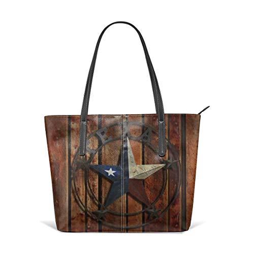 PecoStar Umhängetasche für Damen, Texas Western Star rustikales Holz PU Leder Schultertasche Messenger Bag Tote Bag Damen Handtasche Geldbörse