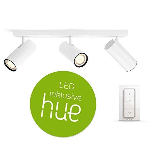 Philips Hue White Ambiance Buratto 3-er LED Deckenleuchte inkl. Dimmschalter & LED-Leuchtmittel, Weiss   AMAZON ECHO & APPLE HOMEKIT kompatibel   Wohnzimmerlampe, Küchenleuchte, schwenkbar