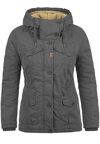DESIRES Lewana Damen Parka Winter-Mantel lange Jacke mit Kapuze und Teddy-Futter aus hochwertiger Baumwollmischung, Größe:M, Farbe:Dark Grey (2890)