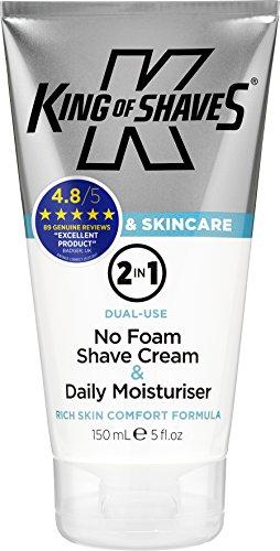 Feuchtigkeit-reichhaltige Hand-waschen (King of Shaves 2-in-1 Rasiercreme ohne Schaum & Feuchtigkeitscreme für jeden Tag, 150 ml)