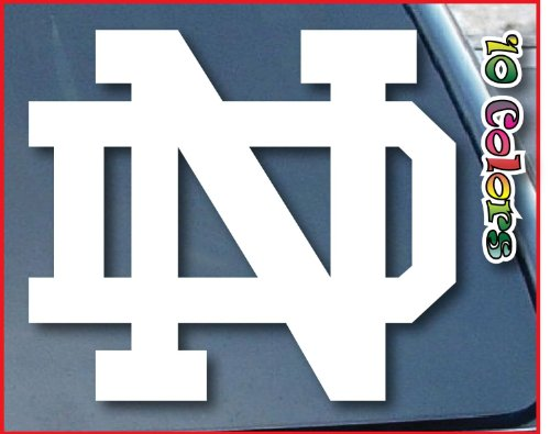 Aufkleber / Autoaufkleber / Sticker / Decal white University of Notre Dame ND Car Window Vinyl Decal Sticker 101mm weiß (Notre-dame-tattoo)