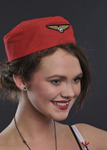Rot Trolley Dolly Air Hostess Flugbegleiterin (Air Hostess Kostüm Hut)