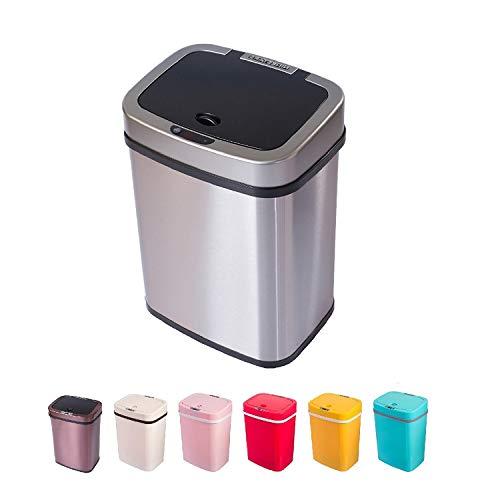 Sensor Mülleimer 12 Liter Automatik Abfalleimer bunt Push Kücheneimer umweltfreundlich Küche Bad Wohnzimmer (12 L, Edelstahl)