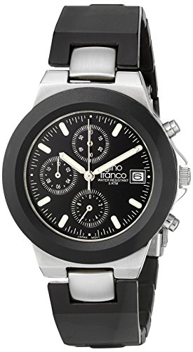 gino franco Men's 967BK Round Chronograph Stainless Steel Bracelet Watch