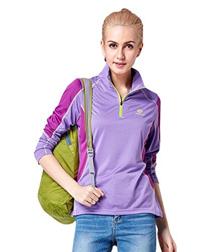 EOZY T-Shirt Manche Longue Femme Col Mao Sport Running Randonnée Été Violet