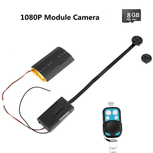 Electro-Weideworld - 8GB 1920x1080P HD Cámara Espía Botón Mini de Seguridad DVR Vídeo Videocámara Seguridad Videocámara DIY Module Cámara T185 Grabación de Vídeo