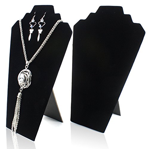H&S® 2 x Black Velvet Necklace Chain Earrings Jewellery Shop Display Stand Bust Case Set -A