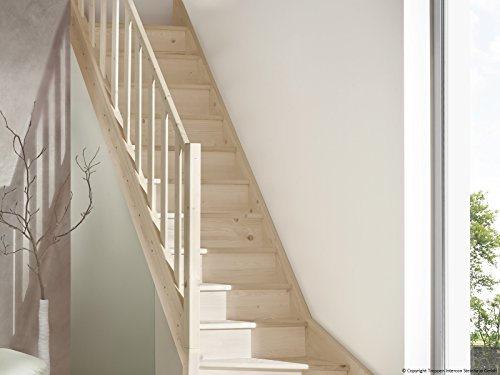 Intercon wooden staircase Casablanca beech ¼ spiralled right or left, incl. wooden column balustrade