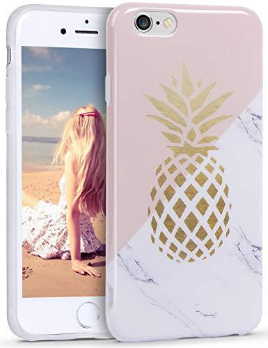Kirsch-marmor (HUIYCUU Schutzhülle kompatibel mit iPhone 8 für iPhone 7, goldenes weißes Marmor-Design, schmale Passform, weiche stoßfeste TPU-Hülle mit Blumenmuster für Mädchen, Kirsch-Muster, Bunt Ananas)