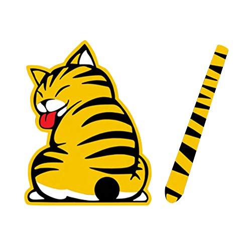 lzndeal Pegatinas para Autos Dibujos Animados Gatos Cola en Movimiento Ventana Trasera Limpiaparabrisas Calcomanías Reflectantes