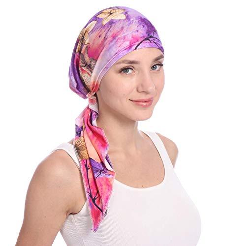 Damen Elegante Schnee Spinnen Weich Chemo Turban Mütze Kopftuch für Chemotherapie,Krebs,Haarverlust (Glatze-mütze)
