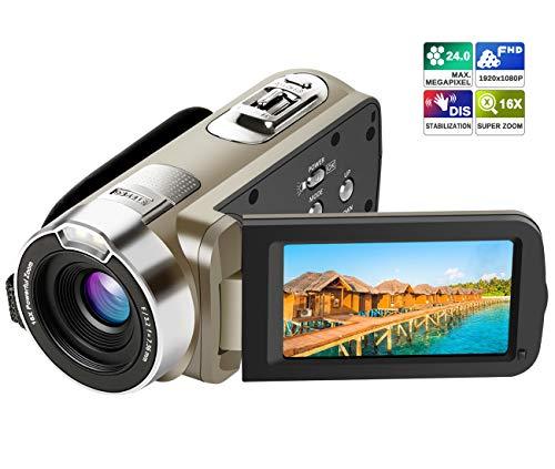 """Kamera Camcorder, Ansteker HD 1080P Videokamera 24MP 16X Digital-Zoom mit 2,7"""" LCD und 270 Grad-Drehbarem Bildschirm (Golden)"""