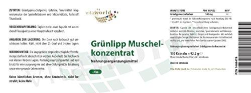 3er Pack Vita World Grünlippmuschel Konzentrat 500mg 3 x 150 Kapseln Gruenlippmuschel Apotheken Herstellung
