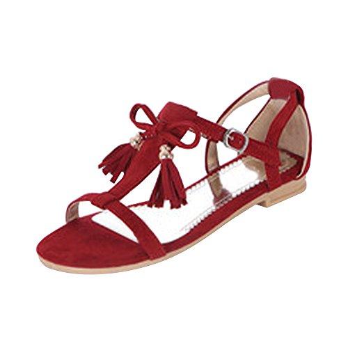 Femme Sandales Plate Suedine Frange Fermeture Boucle Rouge