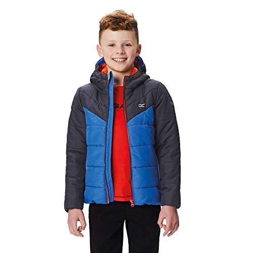 Regatta Kinder Lofthouse II Thermoguard Insulated Water Repellent Hooded Jacke, Seal Grey/Oxford Blue, 13 Jahre 13 Oxford