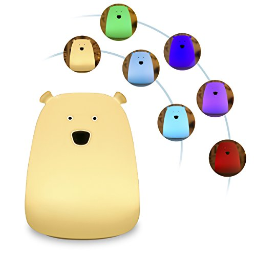 Lumière de nuit pour enfants, S & G Soft Silicone Colorful Bear Touch Dimmable à côté des lampes avec USB Rechargeable, Sensitive Tap Control Gift for Kids Chambre (fils de l'ours) …
