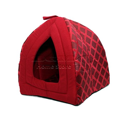 NIGHTS LARGE FLODING LUXURY PET HOUSE BED CAT DOG KITTEN WARM FLEECE IGLOO SOFT CAVE RED ND 1