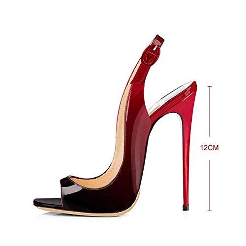 Damen Pumps Heels Und Schwarz High Rot Lackleder Sandalen Stiletto Slingback Peep Toe 6wrqptxU6