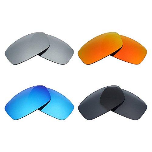 MRY 4Paar Polarisierte Ersatzgläser für Spy Optic Hielo sunglasses-stealth schwarz/fire rot/ice blau/silber titan