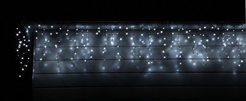 LED Eisregen Lichterkette mit 400 kalt weissen LEDs Lichtervorhang für Draußen und Innen - 2