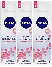 Nivea Body Deodorizer Fresh Rose and Care Gas Free Spray for Women, 120 ml (Pack of 3)