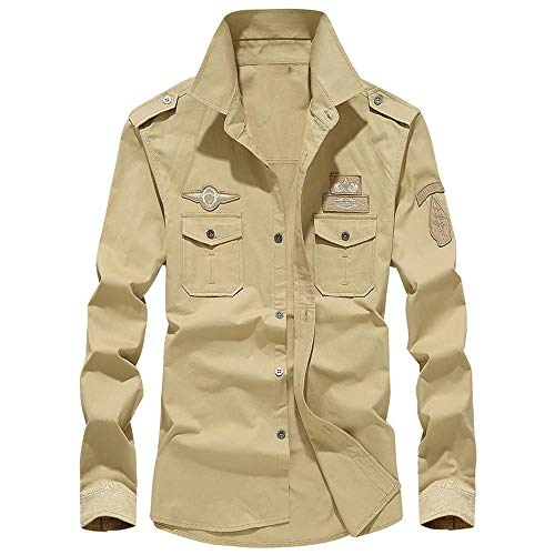 Subfamily top uomo,uomo sottile personalità casuale uomo autunno inverno risvolto cotone abbigliamento da lavoro manica lunga camicia button top camicetta(cachi,xxxxxxl)