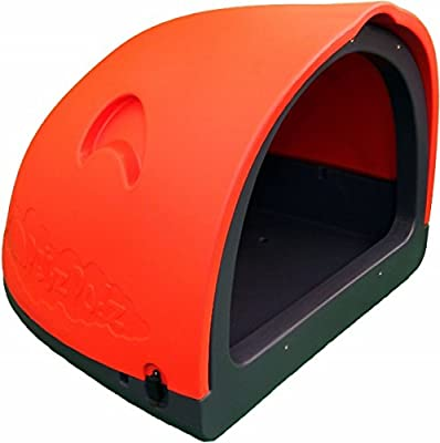 PetzPodz POD LARGE for puppy, dog and chicken designer red plastic dog crate, cave & den, dog kennel house igloo for indoor and outdoor use dog pen and dog home