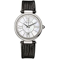 Balmain Women's 32mm Black Leather Band Steel Case Quartz MOP Dial Analog Watch B1671.32.82