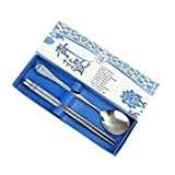Blue : 5 Colors Box for Home Restaurant Portable Creative Stainless Steel Chopsticks Spoon Suit Gift