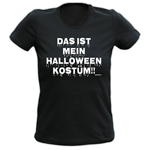 4Girls Damen Halloween T-Shirt <-> Halloween Kostüm <-> gruseliges Fun Geschenk, Goodman Design Schwarz (Friedhof Girl Halloween Kostüm)