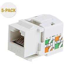 CableCreation 5-PACK Cat6 / RJ45 Keystone módulo Conector, Keystone Punch Down Stand, Blanco