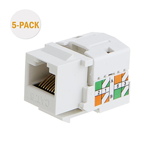 CableCreation 5-PACK Cat6 / RJ45 Keystone module Connector, Keystone Punch Down Stand , White