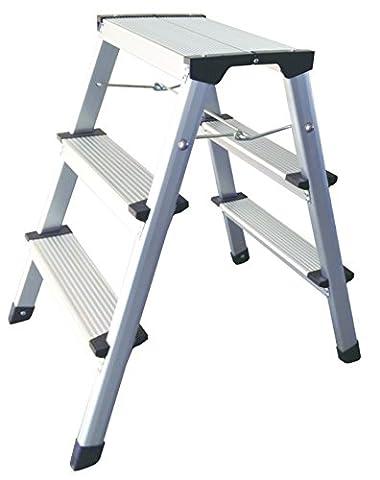 1PLUS Aluminium Tritt / Leiter Trittleiter Klapptritt 2 x 3 Stufen bis 150 kg belastbar, Höhe: ca. 60 cm
